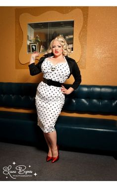 Deadly Dames Wiggle Dress in White with Black Polka Dots - Plus Size - Plus Size - Clothing | Pinup Girl Clothing