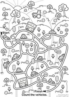 Vehicles i material de transport School Worksheets, Kindergarten Worksheets, Mazes For Kids, Art For Kids, Maze Worksheet, Transportation Theme, Hidden Pictures, Colouring Pages, Pre School