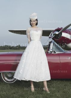 $159--2014 Sexy Wedding Dresses Tea Length Half Sleeves Jewel Tull A-line Appliques Bridal Dresses with Button JA8729_New A-Line Wedding Dress_A-L...