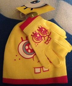 Spongebob Squarepants Beanie & Gloves Set Girls Child Sz One Size Yellow New in Clothing, Shoes & Accessories | eBay