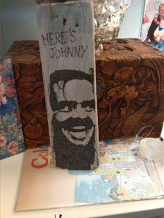Jack Nicholson in The Shining. First go with a pyrography pen on drift wood.