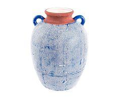 Jarrón de cerámica Amira - azul, blanco y marrón