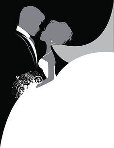 Bride and Groom So In Love vector art illustration Wedding Invitation Background, Wedding Invitation Cards, Wedding Cards, Diy Wedding, Wedding Venues, Wedding Drawing, Wedding Illustration, Wedding Silhouette, Wedding Logos