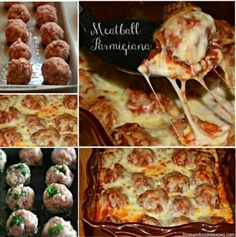 Meatball Parmigiana The WHOot - Here's an amazing family meal that everyone will love. It doesn't get much better than this delicious cheesy Meatball Parmigiana and we hear it is sensational. Recipe via 'Hugs and Cookies' Mince Recipes, Roast Beef Recipes, Meatball Recipes, Ground Beef Recipes, Appetizer Recipes, Cooking Recipes, Appetizers, Chicken Recipes, Beef Meals