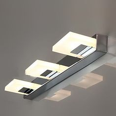 LED Wall Sconce,LED Bathroom Mirror Wall Light With 3 Lights, Modern Metal Arcylic Electroplating