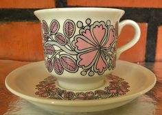 Items similar to Arabia of Finland, Esteri , Coffee Cup & Saucer on Etsy Coffee Cups, Tea Cups, Coffee Container, Ceramic Design, Marimekko, Vintage Pottery, Scandinavian Style, Kitchenware, Cup And Saucer