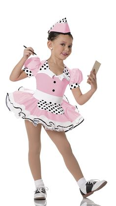 """DRESS: Pink lycra, white stretch polyester, white and black polka dot lycra, and attached skirt of pink lycra overlay with underskirts of white tricot TRIM: Black snap caps and black satin ribbon trim BELT: (Separate) White stretch polyester with attached apron of white and black polka dot lycra HEADPIECE INCLUDED FREE SIZES: Child: XS-S-M-L-XL-XXL FOR """"DIAMOND"""" EARRINGS SEE ACCESSORIES Imported"""