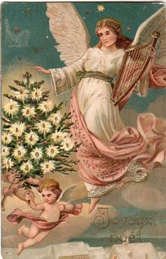 Christmas Angel with A Golden Harp and A Tree Original Vintage Postcard | eBay