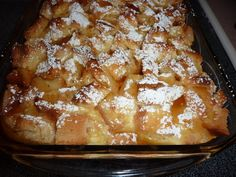overnight French toast casserole 1 bakery loaf of butter crusty bread-10 cups cut into 1-inch cubes put in 9x13 greased baking pan With a mixer, combine: 8 oz low-fat cream cheese, softened 8 large eggs added one at a time 1-1/2 cups milk 2/3 cup half and half cream 1/2 cup maple syrup 1/2 teaspoon vanilla Pour mixture over bread refrigerate overnight Next day let sit out 30 minutes - cook at 350 uncovered for 50 minutes Pour 3/4 cup maple syrup and 2 T powdered sugar on top