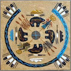 Navajo Indian sand painting is a popular form of ancient Native American painting. Native Symbols, Indian Symbols, Native American Symbols, Native American Design, Native American Crafts, American Indian Art, Native American History, Native Art, American Indians