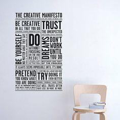 Creative Manifesto Wall Sticker from notonthehighstreet.com