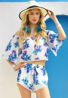 Floral off shoulder co-ord set with floral prints and perforated lace trimming as well as its off the shoulder neckline teamed with elbow-length bell sleeves. | Lookbook Store Jumpsuits and Rompers Collection