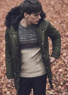Green parka with black fur collar, Burton,  patterned Fair Isle jumperblack red grey white, Chinos Whistles.