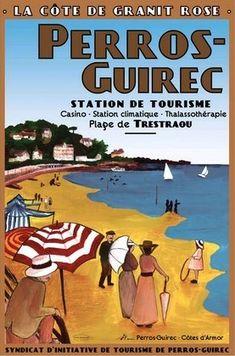 Perros Guirrec, dans les Côtes d'Armor (anciennement Côtes du Nord) Bretagne France ca. 1900 . Vintage travel beach poster #affiche #plage #seaside www.varaldocosmetica.it/en