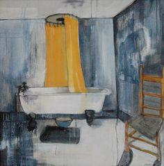 Cathrine Boman - Ediths bad - Acryl på lerret, 40 x 50 cm