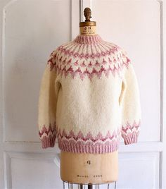 chunky oversized nordic sweater pastel pink small by bohemiennes, $65.00