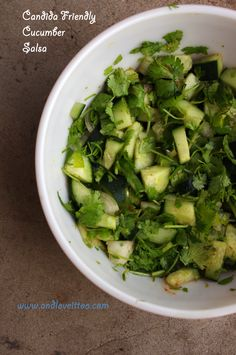 Candida Friendly Cucumber Salsa 1 large cucumber, diced 1 small onion, diced (about ¼ c) ½ bunch of cilantro, chopped 1 jalapeño, diced* Juice of ½ lime, freshly squeezed Dash of Cayenne Pepper* Salt to taste