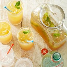 Garden Tea Punch perfect for dinner al fresco. Party tip: punches are great to make in batches before your guests arrive. Let guests dress them up with fresh herbs.