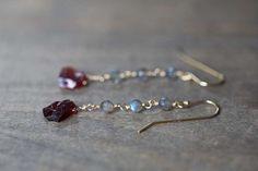 Labradorite & Rough Garnet Earrings, Multi Gemstone Dangle Earrings, Sterling Silver or Rose Gold Filled, Wire Wrapped Raw Garnet Earrings