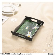 White Wildflowers Serving Tray - garden party anyone?