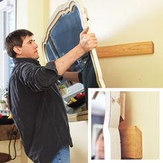 man using French cleat to hang heavy mirror on wall--tons of great DIY tips here Do It Yourself Furniture, Do It Yourself Home, Diy Furniture, Diy Projects To Try, Home Projects, Hanging Heavy Mirror, Diy Hanging, French Cleat, Ideas Para Organizar