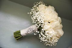 Rose Gyp Baby Breath Gypsophia Bouquet Flowers Bride Bridal Ivory Classic Chic Simple Elegant Champagne Wedding Kent http://kerryannduffy.com/