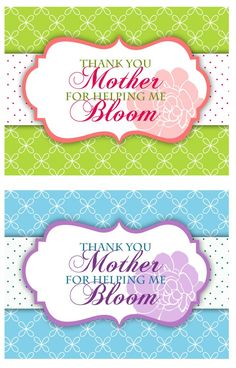 Free printable Mothers Day Thank you Flower Gift Tag