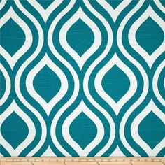 Teal Blue Geometric Fabric - Premier Prints Emily Aquarius Fabric - Fabric by the 1/2 yard for scatter cushions on sofa