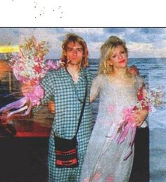Kurt Cobain and Courtney Love, wedding at Waikiki, HI. 1992