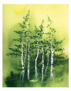 Tranquil Grove - Fine Art Print birch trees green forest aspen woods watercolor landscape painting home wall decor interior Oladesign by georgiatnt Watercolor Landscape Paintings, Watercolor Trees, Ink Painting, Watercolor Paper, Aspen Trees, Birch Trees, Wooded Landscaping, Inexpensive Landscaping, Landscaping Ideas