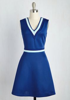 Quad Goals Dress in Cobalt. A scholastic dream, a campus queen - in this knit A-line, you can become anything you please! #blue #modcloth