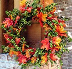 "24"" Green Apple Fall Wreath - 1"
