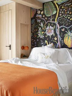 "Bold Bedroom: ""The smaller the room, the more drama you need,"" Netto says. ""The Svenskt Tenn Hawaii fabric by Josef Frank IDEA for nightstand as a closet for small guest room Beautiful Bedrooms, Beautiful Homes, House Beautiful, Happy Room, Bedroom Orange, Of Wallpaper, Fabric Wallpaper, Wallpaper Headboard, Amazing Wallpaper"