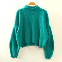 Green Turtleneck Knitted Sweatshirt