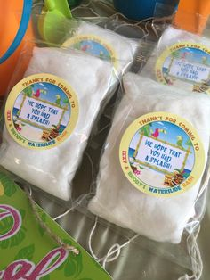 Childrens Hawaiian Luau Waterslide Bash Birthday party favors. Custom label personalized individual prepackaged white cotton candy favors.