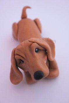 Items similar to Adorable Fondant Dachshund/Sausage Dog Cake Topper on Etsy Fondant Dog, Fondant Animals, Fondant Icing, Modeling Chocolate Figures, Dachshund Cake, Sugar Animal, Foundant, Dog Cake Topper, Puppy Cake