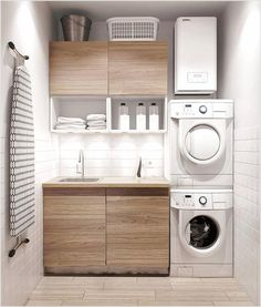 Awesome Small Laundry Room Decor Ideas For Your House 02 Modern Laundry Rooms, Laundry Room Layouts, Laundry Room Cabinets, Farmhouse Laundry Room, Laundry Room Organization, Organization Ideas, Storage Ideas, Storage Shelves, Laundry Storage