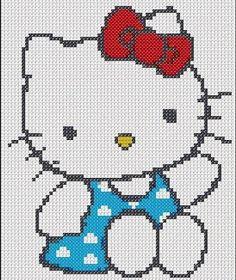 Hello Kitty tamao llaveropunto de cruz Cara Delantera