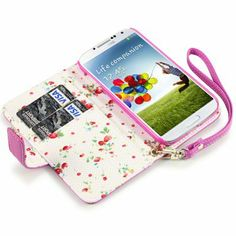 Samsung Galaxy S4 Premium PU Leather Wallet Case (Hot Pink (Floral Interior) - Cell Phone Review and News - Zimbio