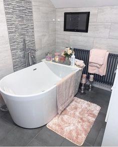 Hampton and Astley Egyptian Cotton 7 Piece Luxury Bath Towel Set, Pink Black Bedroom Design, Bathroom Design Luxury, Dream Home Design, Home Interior Design, House Design, Dream Bathrooms, Small Bathroom, Neutral Bathroom, Living Style
