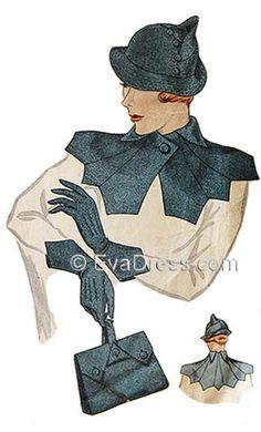 1934 Hat, Collar, Purse & Gloves EvaDress Pattern by EvaDress on Etsy 1930s Fashion, Vintage Fashion, Victorian Fashion, Fashion Fashion, Vintage Style, 1930s Hats, Moda Vintage, Vintage Hats, Vintage Purses