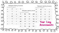 Year long Assessments-Kindergarten!  Freebie!!