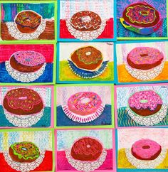 Cassie Stephens: In the Art Room: Time to Make the Donuts puffy paint, texture combs Art Lessons For Kids, Art Lessons Elementary, Art For Kids, Pop Art, 3rd Grade Art Lesson, Third Grade Art, Second Grade, Square 1 Art, Art Doodle
