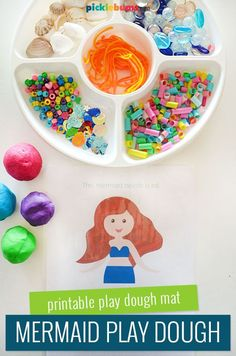 Under The Sea Mermaid Play Dough - If your kids love mermaids they will love this fun mermaid play dough set up and free printable mermaid playdough mat.   #freeprintablesforkids #playdough #playdoughmat #picklebumsprintables Sensory Play Recipes, Playdough Activities, Ocean Activities, Free Activities, Summer Activities For Kids, Crafts For Kids, Sand Dough, Play Dough Sets, Party Platters