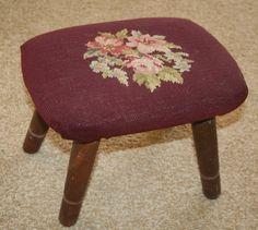 Vintage Needlepoint Footstool   Vintage Handmade Burgundy Floral NEEDLEPOINT Tapestry & Wood Footstool ...