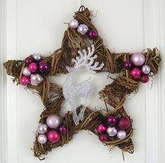 Türkranz Stern Shabby rosa silber 40 cm Deko Weihnachten Advent Gesteck Wanddeko
