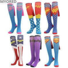 MYORED cartoon superman batman Cape Socks cotton knee high long tube sock for men women superheroes cloak crew sokken unisex Batman Cape, Batman And Superman, Funky Socks, Crazy Socks, Roller Derby Clothes, Diy Cape, Halloween Socks, Superhero Cosplay, Tube Socks
