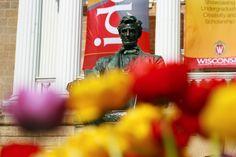 Abe through the tulips.