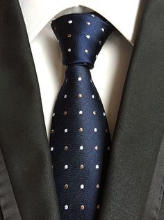 Blue Silk Tie Men Necktie Polka Dot Gift Box Tie Pajarita Men Ties Silk Classic  #Unbranded #Tie