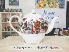 In light of the Queen's 90th Birthday celebrations, 2 teapot seconds are now available in our Elm Grove shop ☕️ #alisongardiner #queenat90 #happybirthdayyourmajesty #queen #theroyals #royalty #godsavethequeen #monarchy #teapot #tea #southsea #portsmouth #shoplocal #illustration #british #madeinengland #finebonechina